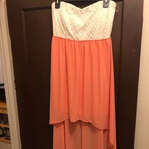 Strapless coral and white hi lo dress Large